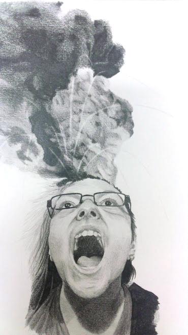 School - Pencil surrealist portrait by Fluna