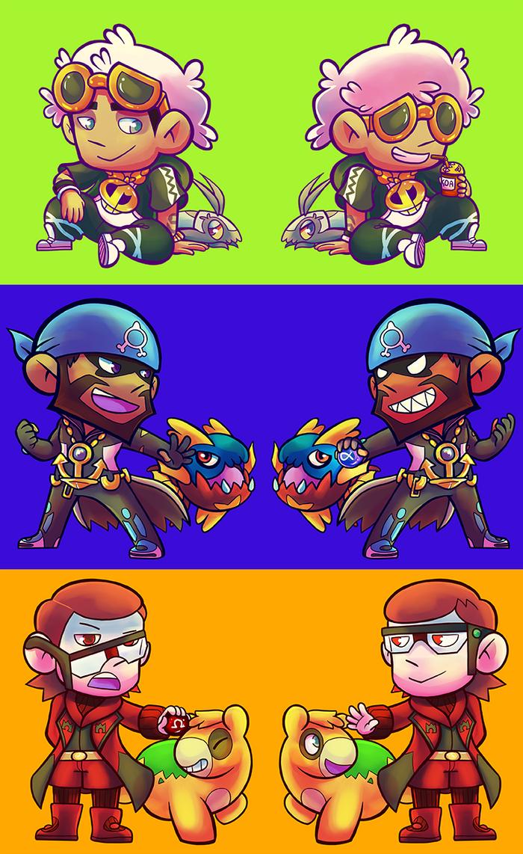 PKMN - Guzma Archie and Maxie chibies by Fluna