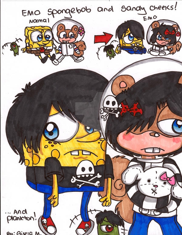 emo spongebob and sandy by violent rainbow on deviantart