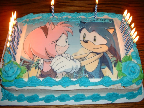 Sonic x Amy Cake by Violent-Rainbow