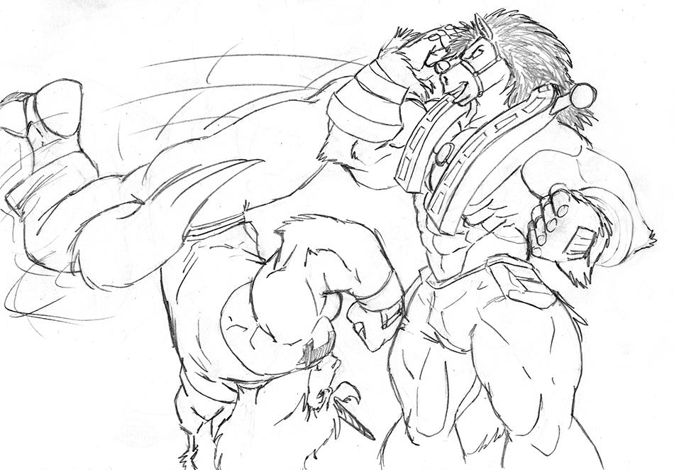Uniko vs. Power Hoss sparring match, by Galen
