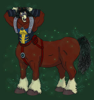 Pencil/digital color sketch, Power Hoss centaur