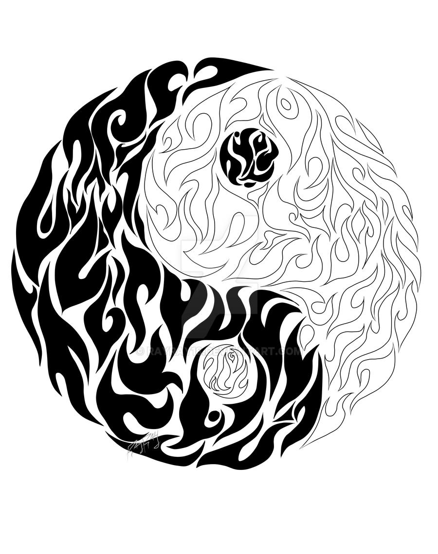tattoo design coloring pages - tattoo design yin and yang by rayray18 on deviantart