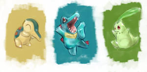 Cyndaquil Totodile Chikorita by T-Spencil