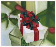 Gift Box Christmas Painting by Acacia13