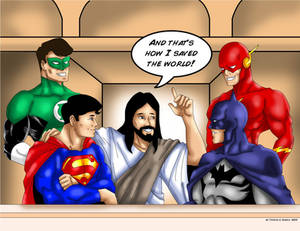 Jesus talking to The DC Heroes