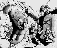 Owlbear vs dwarven clan by Glad27