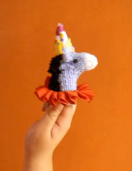 Knitted Donkey Finger Puppet by Hope-and-Memory