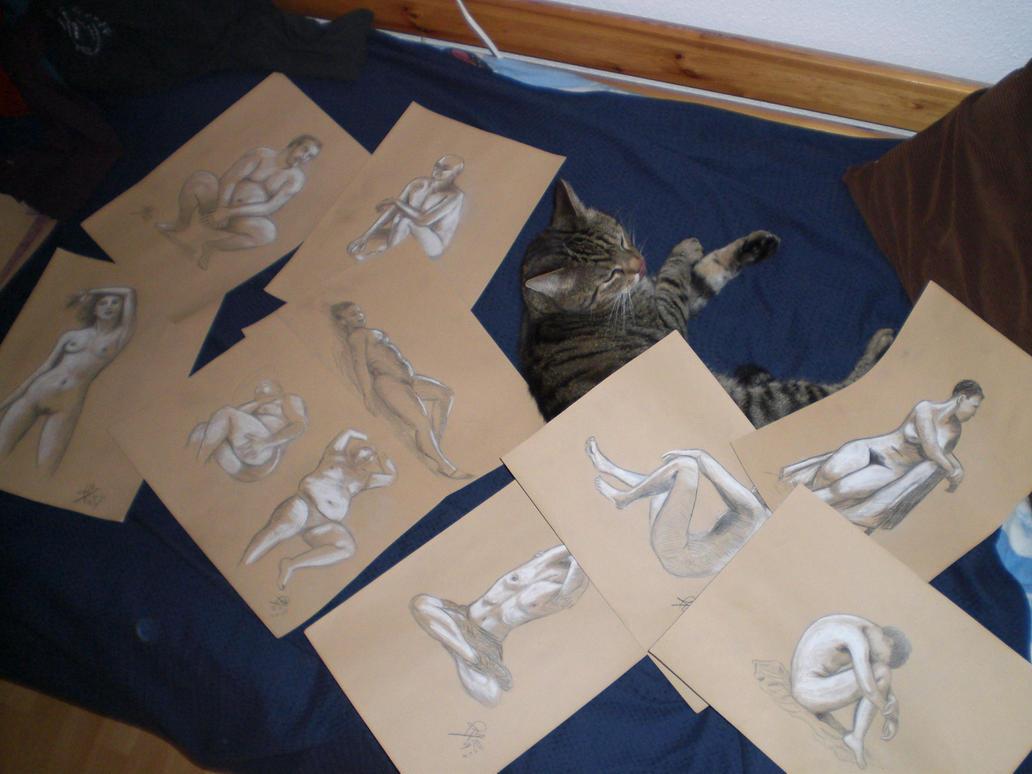Aktstudien nach Fotos, nebst desinteressierten Katztiers, das mit Namen Taigi heißt