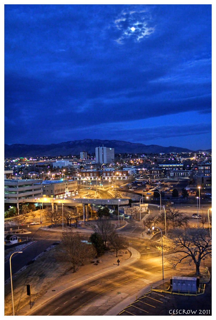 Albuquerque at night 1 by cescrow