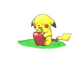 Pikachu and the Apple by Tushikikatotoka