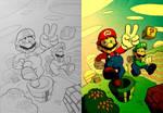 Digital Coloring Sample - Mario Bros Concept Ver 2