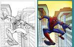Digital Coloring Sample - Spider-Man Swing