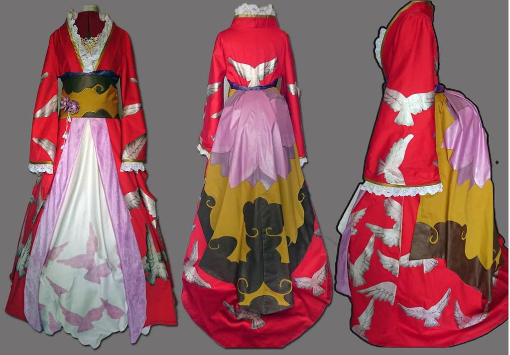 Sakura Red Kimono by Fall3nW1ngs