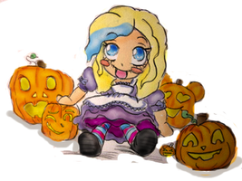 Kelsey and Pumpkins by Latharion