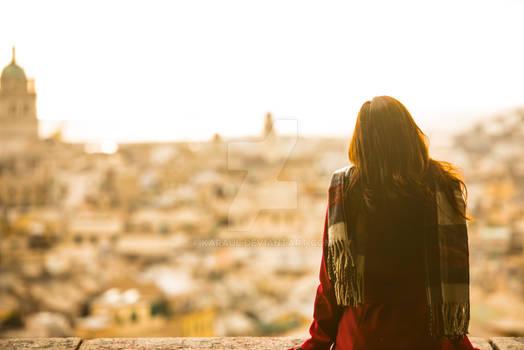 A beautiful young woman enjoying the view of