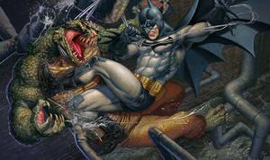 Batman vs Killer Croc by adam-brown