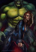 Backup (Black Widow / Hulk) by adam-brown