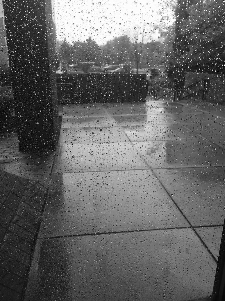 Rainy Window BW by EndlessMuse