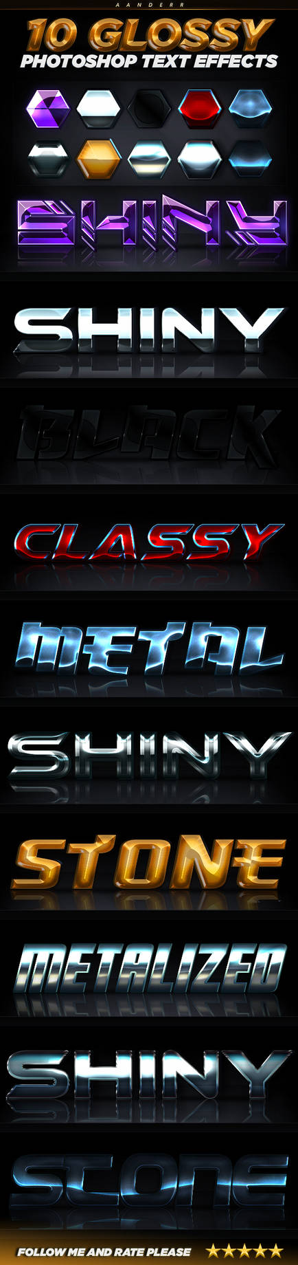 10 Glossy Photoshop Text Effects (Professional)