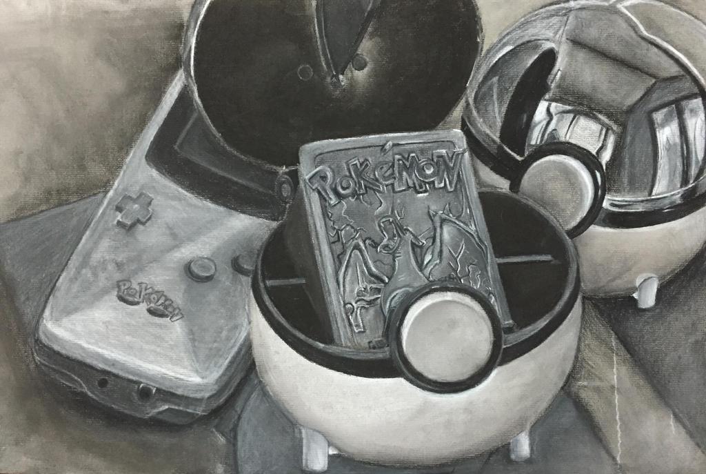 Pokemon still life- charcoal by Razberry99