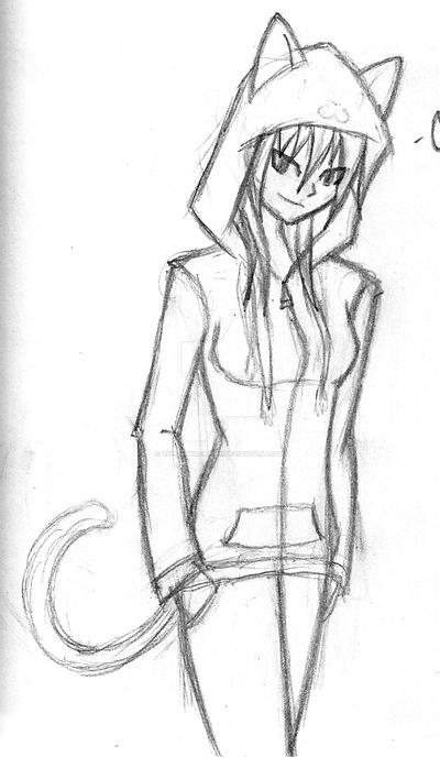 Hoodie series cat sketch by xspiritwarriorx