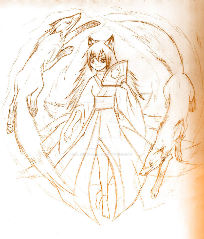 Kitsune anime girl sketch by xspiritwarriorx
