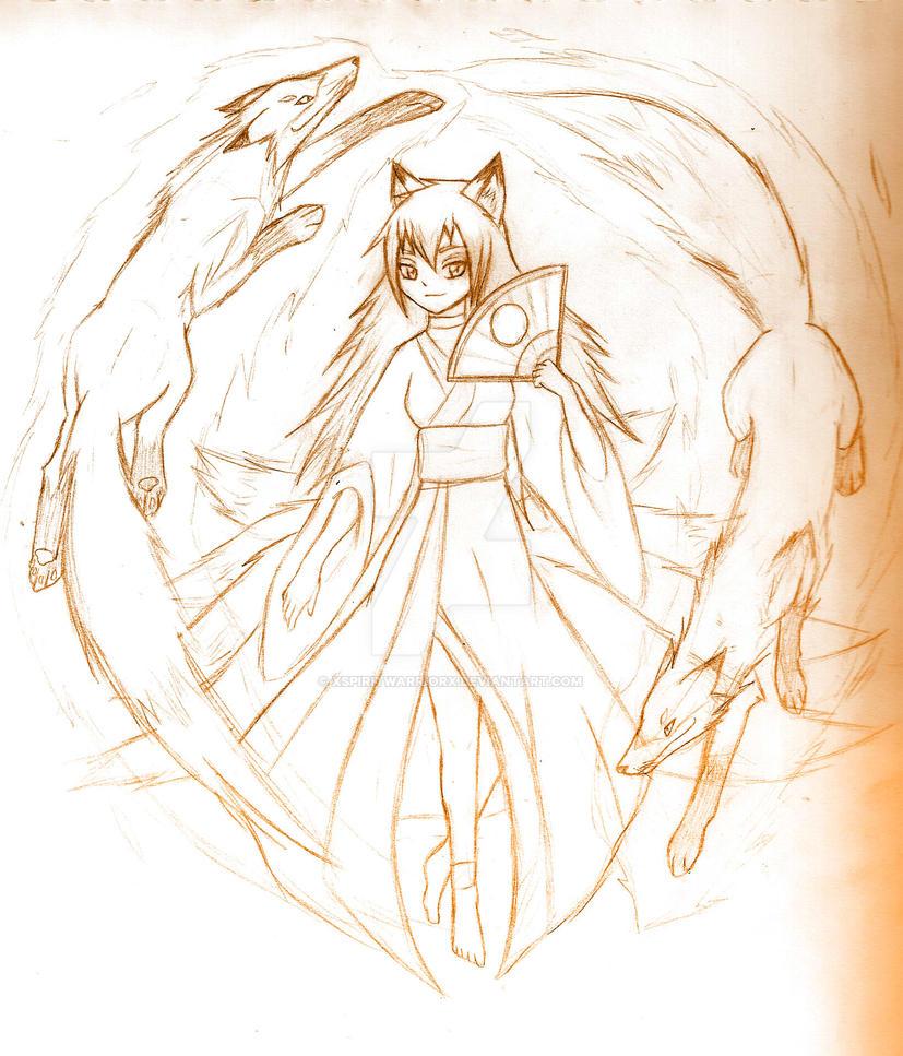 Kitsune Anime Girl -sketch- By XSpiritWarriorX On DeviantArt