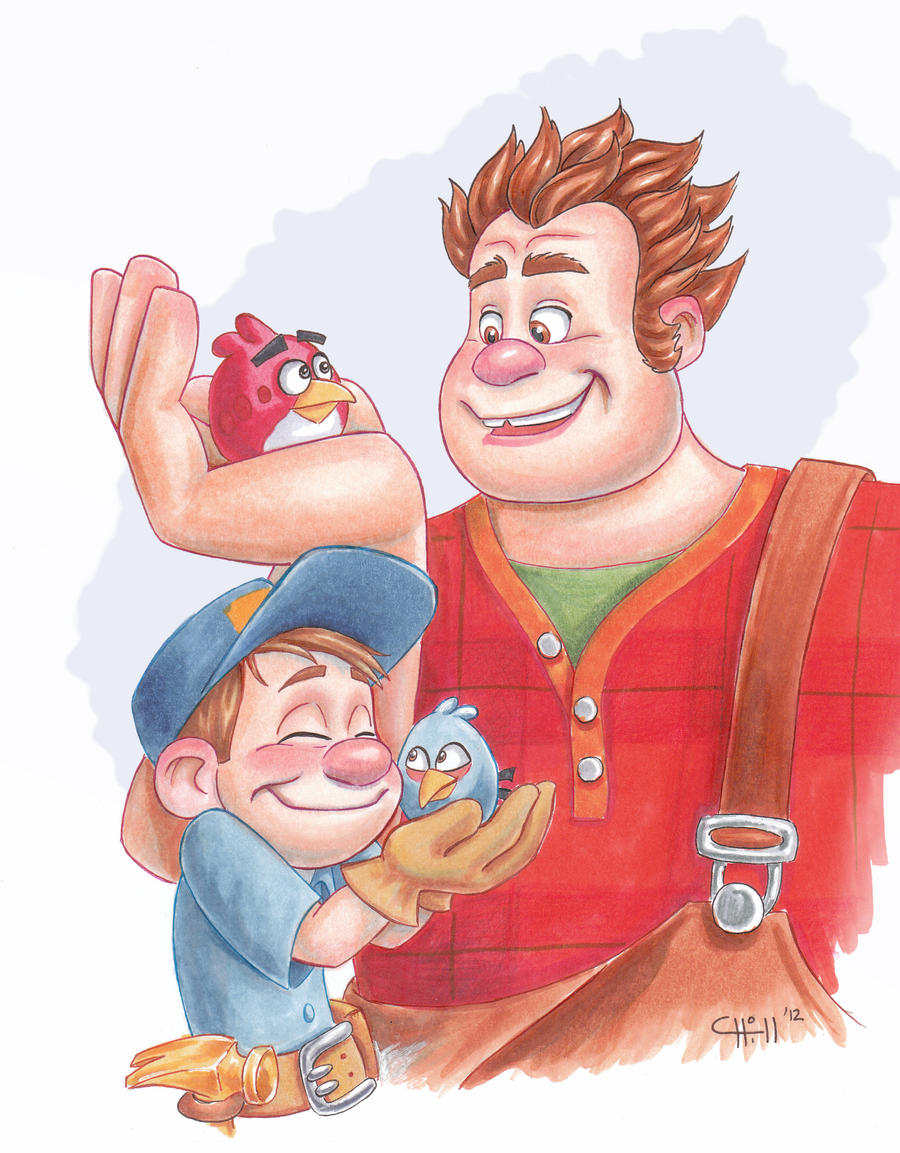 Wreck-It-Ralph Meets Angry Birds by chill13