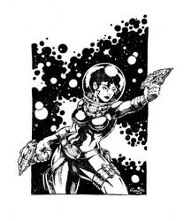 Inktober Space Babe by kyle-roberts
