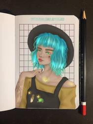 Aqua hair girl sketch - drawthisinyourstyle entry by LadySeegard