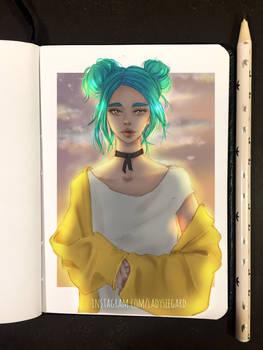 blue hair girl at sunset - drawthisinyourstyle