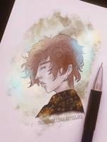 Sketch - curly hair boy by LadySeegard