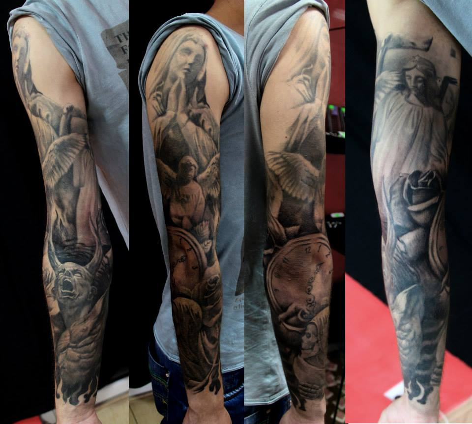 Depression Is Hell Tattoo Submit Your Tattoo: Heaven And Hell Sleeve By AndreySkull On DeviantArt