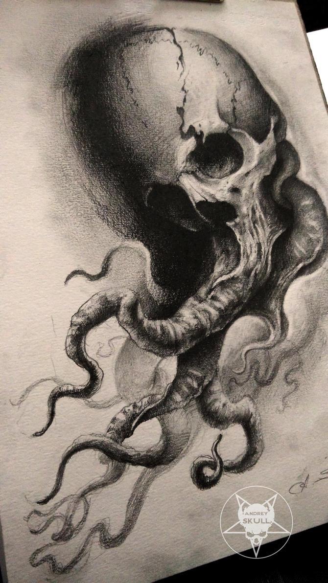 tentacles skull by andreyskull on deviantart. Black Bedroom Furniture Sets. Home Design Ideas