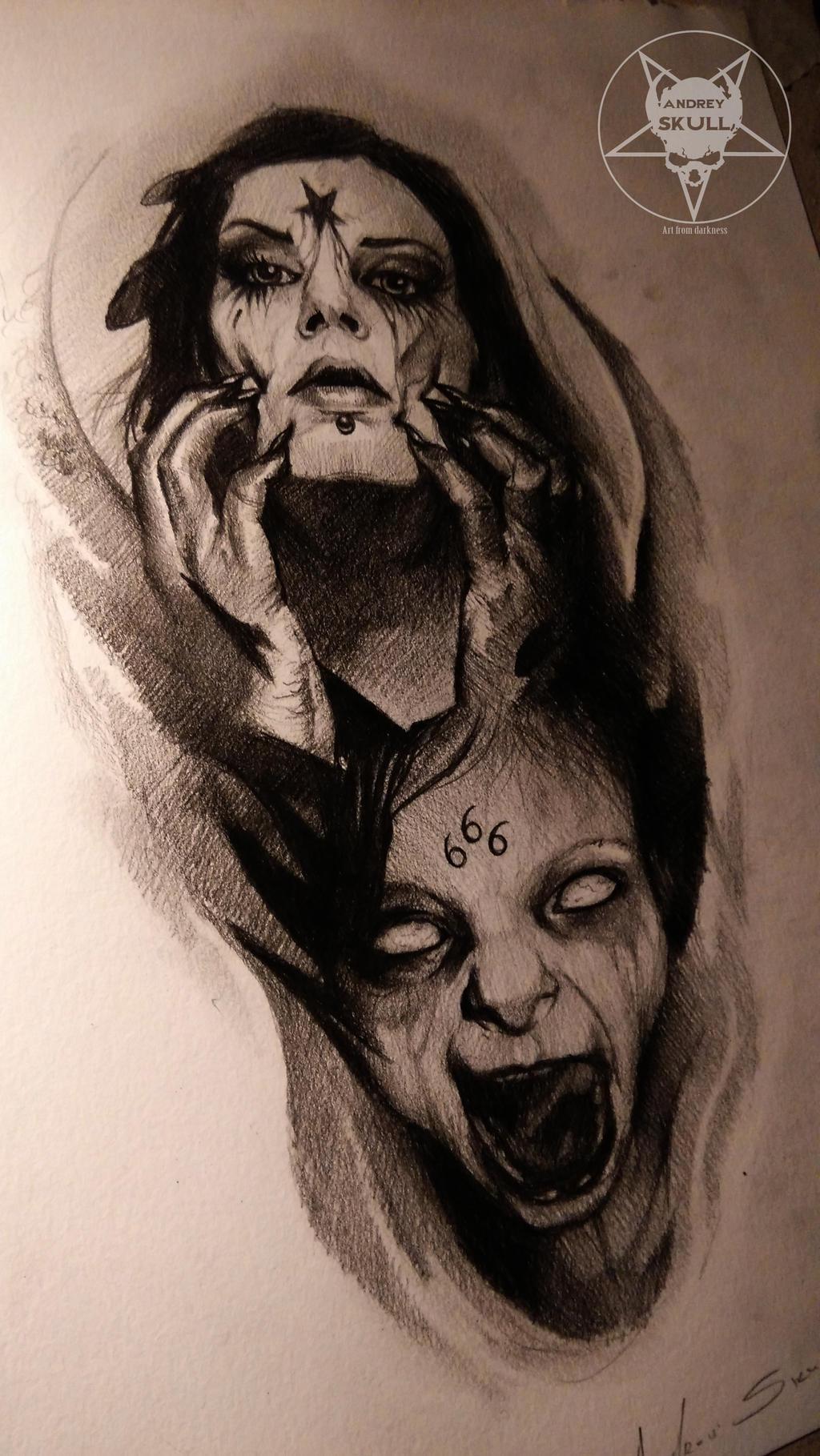 Satanic ii by andreyskull on deviantart for Satanic tattoo designs