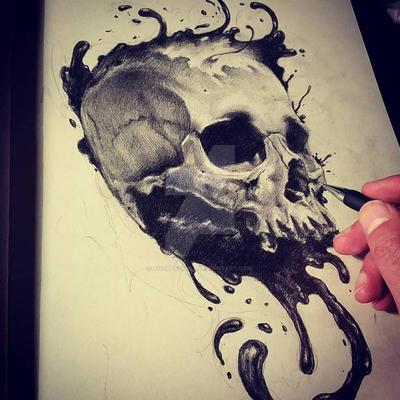 ink skull IV by AndreySkull