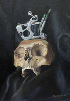 tattoo machine and skull