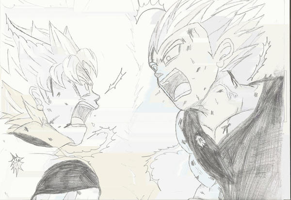 Goku vs. Vegeta - In Pencil by FunkMonkey777