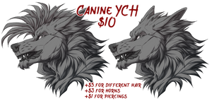 YCH| Snarly Wolf Head (CLOSED)