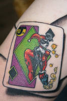harley quinn joker card tattoo by carlyshephard