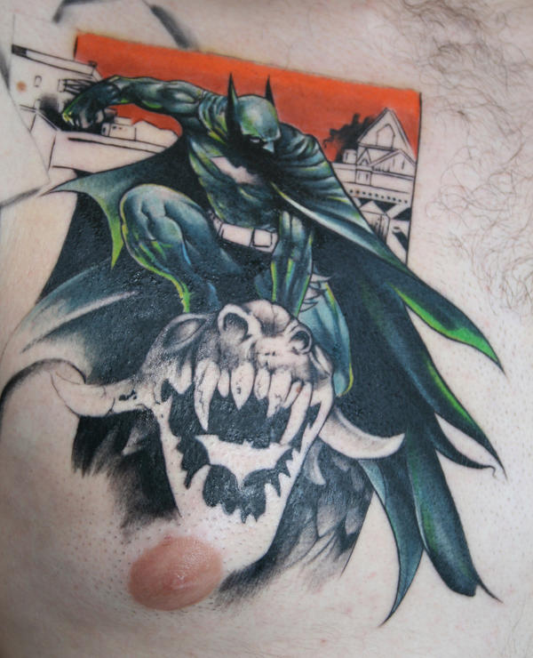 batman tattoo chest piece by Batman Tattoo Chest