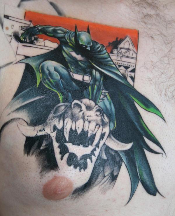 batman tattoo chest piece