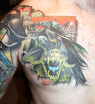 batman chest tattoo finished