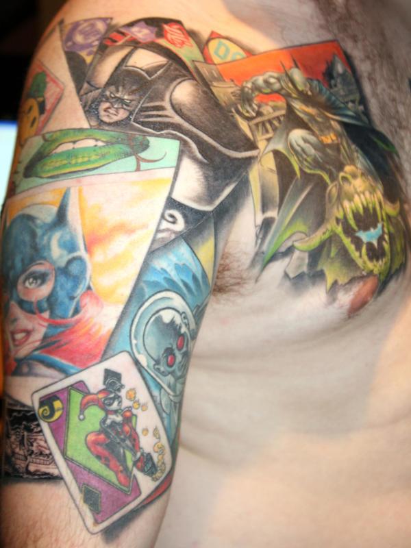 batman graphic novel tattoo - chest tattoo