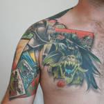 finished batman tattoo front