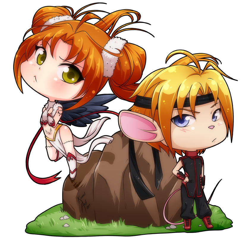 Chibi Osprey and Mouse by tiffa