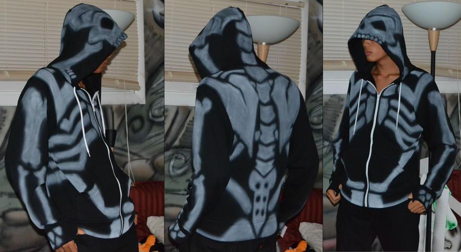 Skeleton Hoodie by kingpoopy