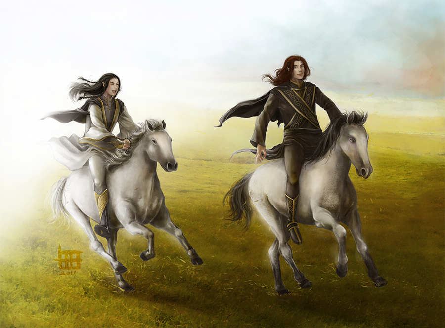 Riding Nelyafinwe and Findekano by AlaisL
