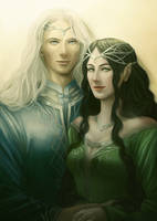 Commission: Melian and Thingol by AlaisL